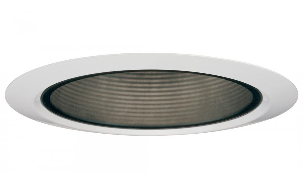 4 in. Black Shallow Baffle Finishing Trim with Narrow Matte White Flange (6 pack)